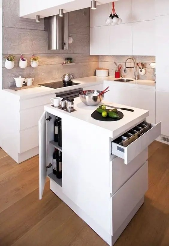 25 Mini Kitchen Island Ideas For Small Spaces - DigsDigs on Small Space Small Kitchen Ideas  id=26025