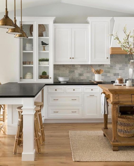 25 Trendy Contrasting Countertops For Your Kitchen - DigsDigs on Kitchen Backsplash With Black Countertop  id=82090