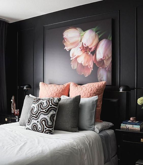 25 refined pink and black bedroom decor