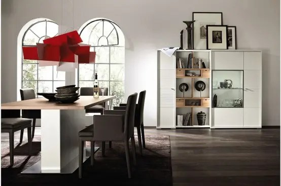 Fashionable-interior-design-with-dark-brown-chairs-and-interesting-red-chandelier