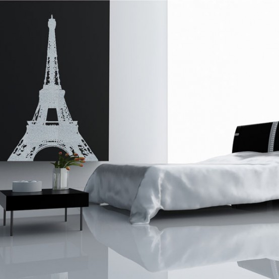 Bedroom Design Black and White Paris Themed Bedroom Eiffel Tower and Monochromatic Design