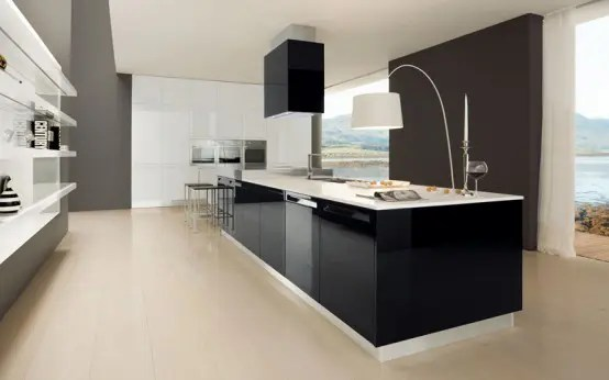 Glossy Black And White Kitchen Diana By Futura Cucine