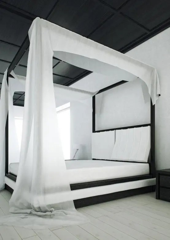 Modern Black And White Canopy Bed Wind By Mazzali Digsdigs