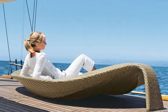 Outdoor Wicker Chaise Lounge Leaf By Dedon