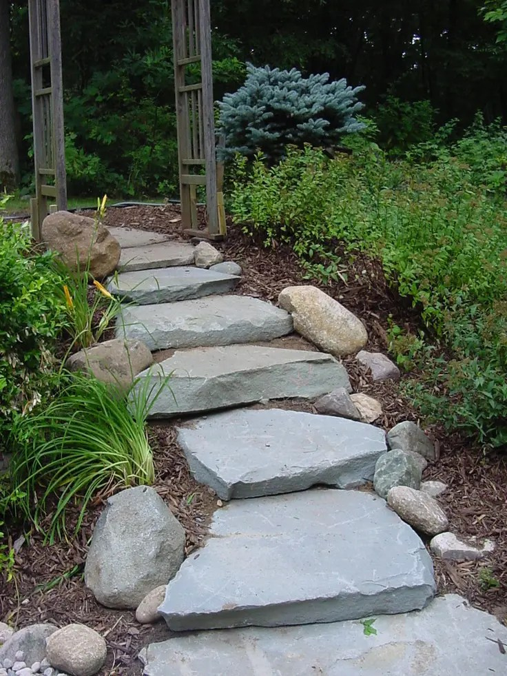 43 Awesome Garden Stone Paths | DigsDigs on Backyard Patio Landscaping id=51646