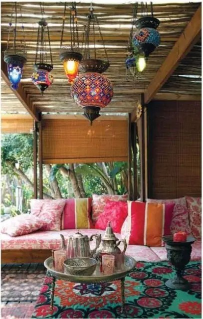 37 Beautiful Bohemian Patio Designs - DigsDigs on Chic Patio Ideas id=86769