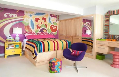 Very Bright and Colorful Basement Bedroom Design - DigsDigs on Teenager Basement Bedroom  id=21508