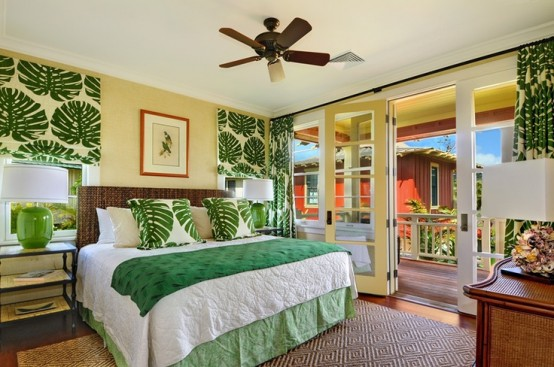 This natural and modern style literally transformed this bedroom. 39 Bright Tropical Bedroom Designs - DigsDigs