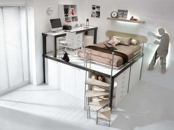 brown loft teenage beedroom