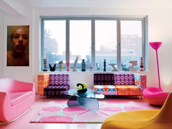 Pink in the Living Room Pink Home Decor Ideas Pink Couch Modern Eclectic Living Room Design Bay Window