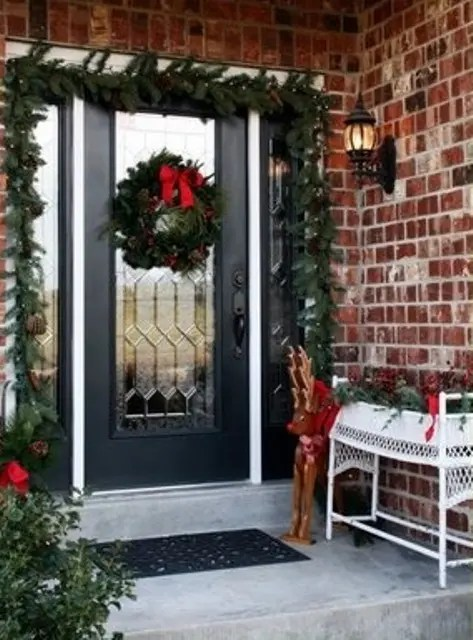 Decoration Awesome Enrtry Way With Front Porch Christmas Decorations Plus Gl Completed Snowflakes