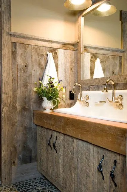 Going for a lighter palette allows the darker cherry wood … 39 Cool Rustic Bathroom Designs - DigsDigs
