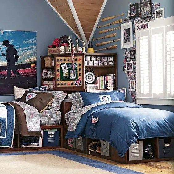 42 Cool Shared Teen Boy Rooms Décor Ideas - DigsDigs on Cool Bedroom Ideas For Teenage Guys With Small Rooms  id=64788