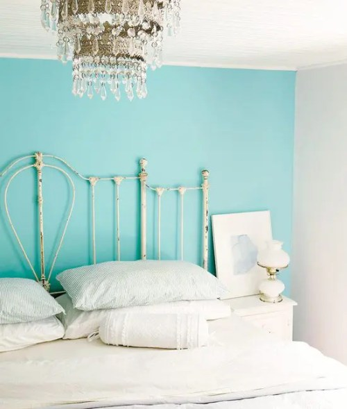 Ideas for Bedrooms White Bed with Turquoise Accent Wall and Crystal Chandelier