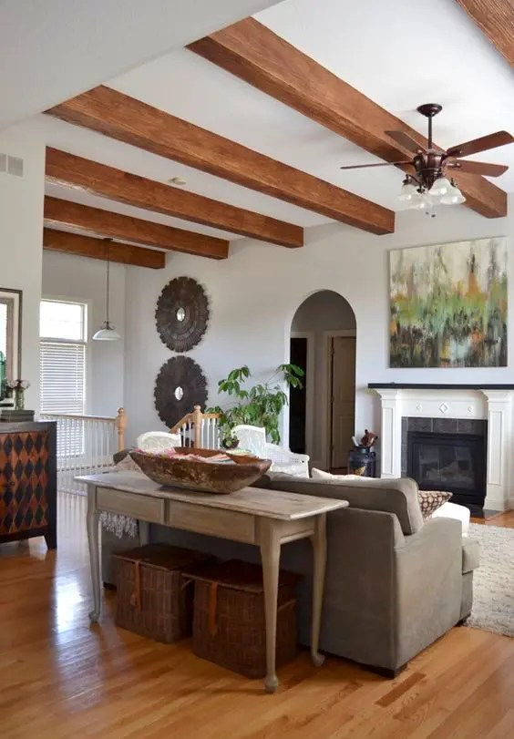 Great functional mountain view living space, fireplace and numerous upgrades including granite countertops, upgraded cabinets, wood beams in living room, shiplap wall in dining room, hardwoods on. Picture Of cozy living room designs with exposed wooden ...