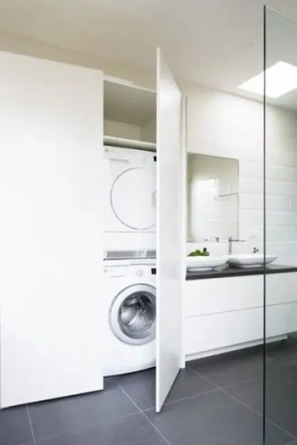 23 Creative Ways To Hide A Washing Machine In Your Home ... on Small Space Small Bathroom Ideas With Washing Machine id=53373
