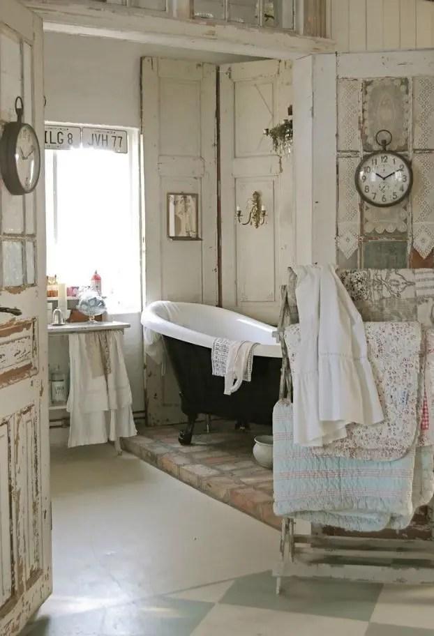 28 Lovely And Inspiring Shabby Chic Bathroom Décor Ideas ... on Rustic:s9Dkpzirpk8= Farmhouse Bathroom  id=73046
