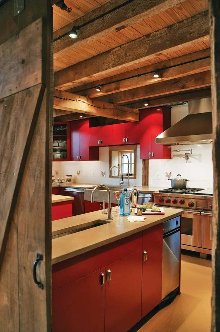 39 Dream Barn Kitchen Designs | DigsDigs on Farmhouse:-Xjylc6A2Ec= Rustic Kitchen  id=72645