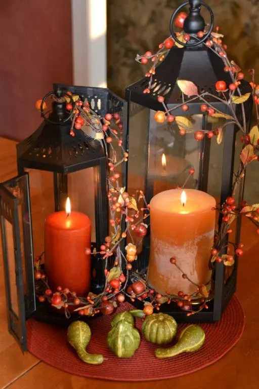 59 Fall Lanterns For Outdoor And Indoor D    cor   DigsDigs You can connect several lanterns in one centerpiece with several twigs with  berries