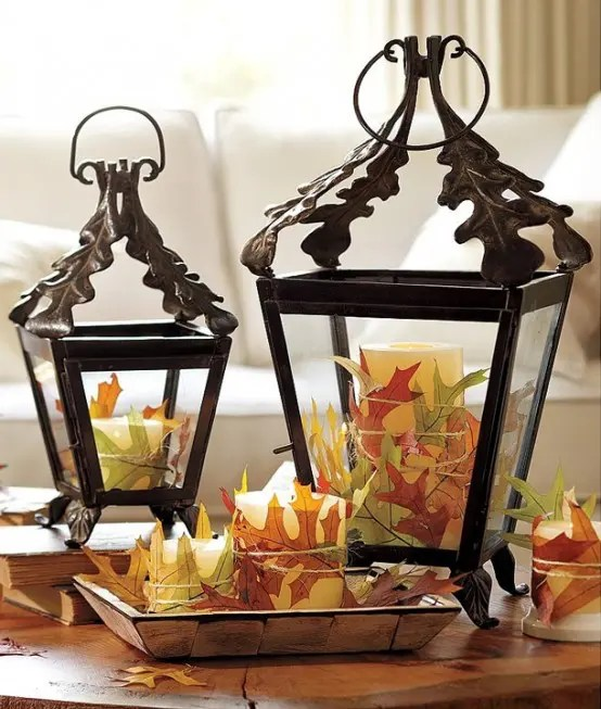 59 Fall Lanterns For Outdoor And Indoor D    cor   DigsDigs Cover several candles with fallen leaves in different colors  You can  attach them by simply