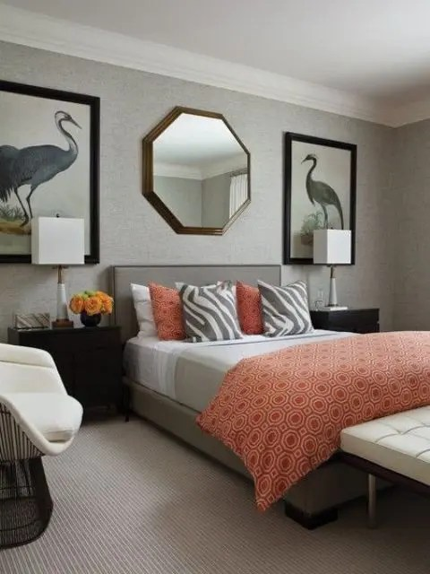 Here are four more ideas for decorating a blank wall. 45 Grey And Coral Home Décor Ideas - DigsDigs
