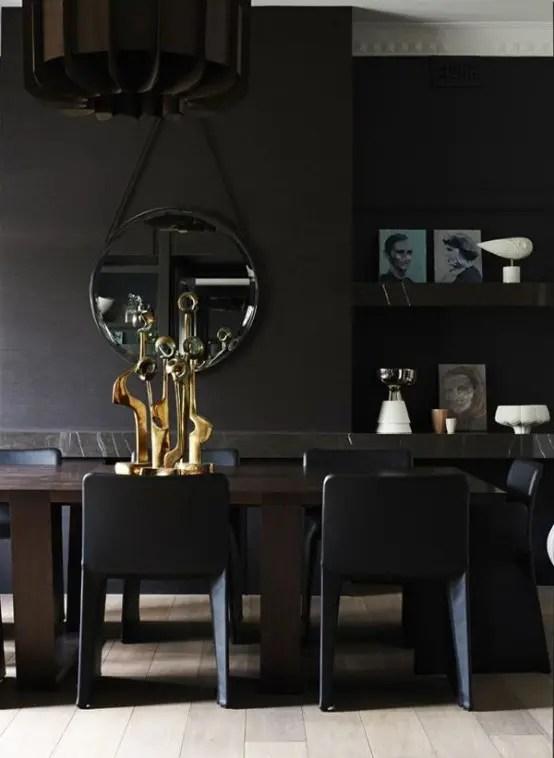 Impressive Black Interior Design With Gold And Orange