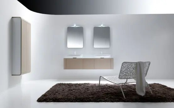K08 Rounded Bathroom Cabinets With Reduced Depth