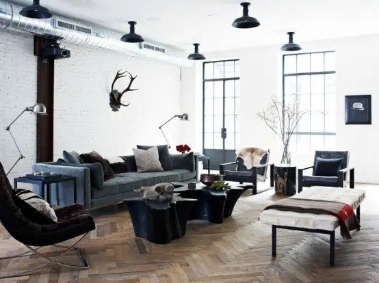 Masculine Loft With Industrial Touches And Dark Shades