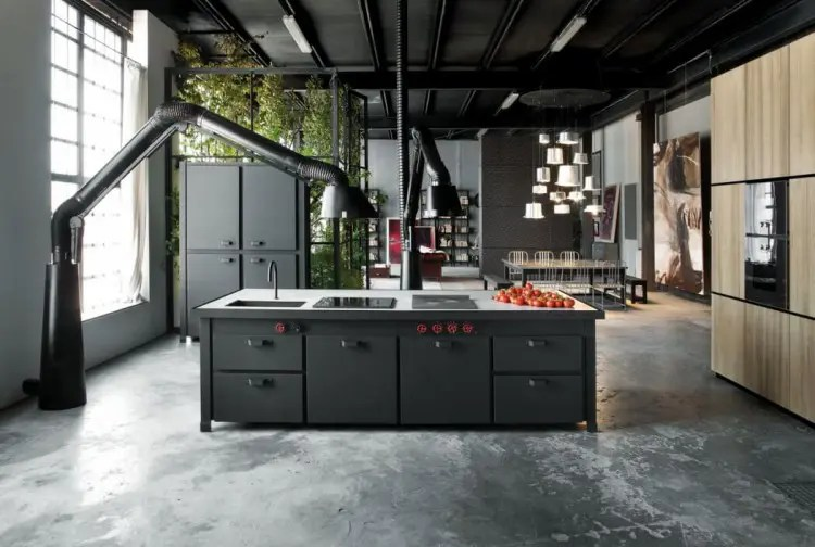 milan loft design with dark industrial metals in decor on kitchen kitchen design ideas inspiration ikea id=86217