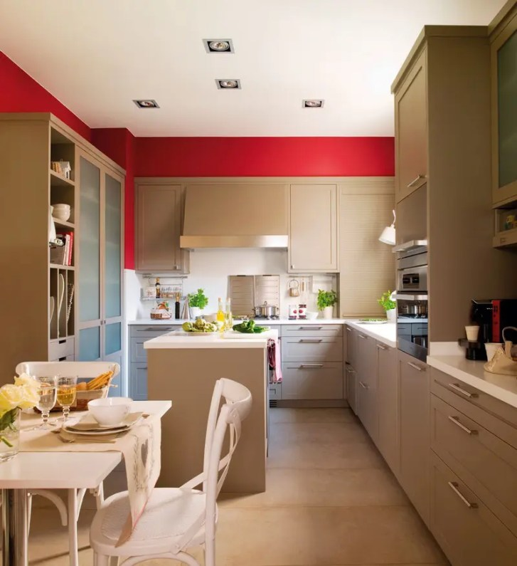 Modern Beige Kitchen Design Red Walls