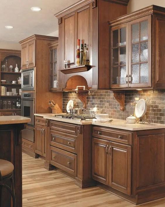 30 Super Practical And Really Stylish Brick Kitchen ... on Backsplash Ideas For Maple Cabinets  id=66059