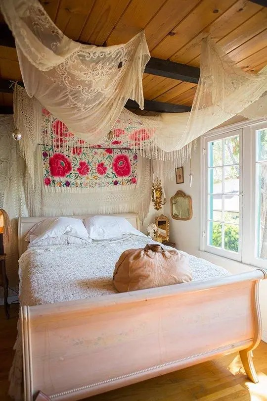 65 Refined Boho Chic Bedroom Designs   DigsDigs For balancing splashes of color soft curtains and canopies work extremely  well
