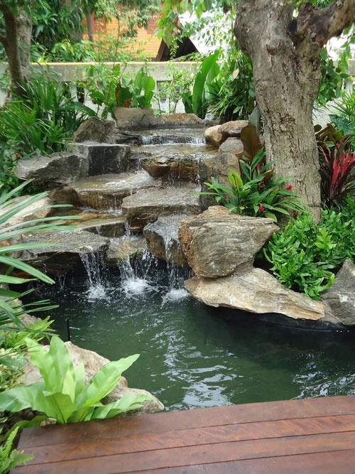 75 Relaxing Garden And Backyard Waterfalls - DigsDigs on Waterfall Ideas For Garden id=49309