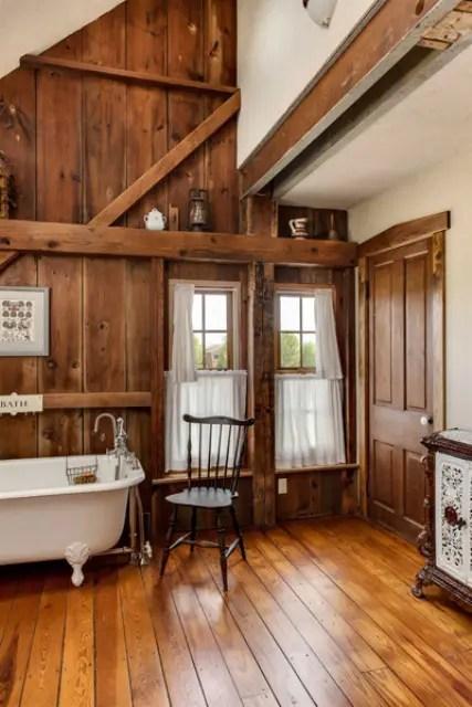 44 Rustic Barn Bathroom Design Ideas - DigsDigs on Rustic:s9Dkpzirpk8= Farmhouse Bathroom  id=90808