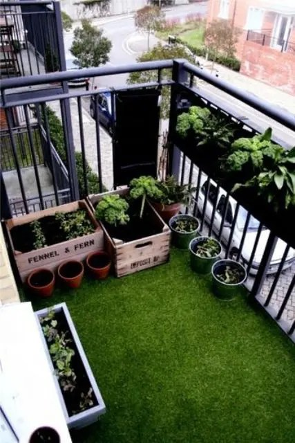 Small Balcony Design Ideas 35 Of 67 Add A Faux Grass Rug For More Natural Green Look With Low Maintenance