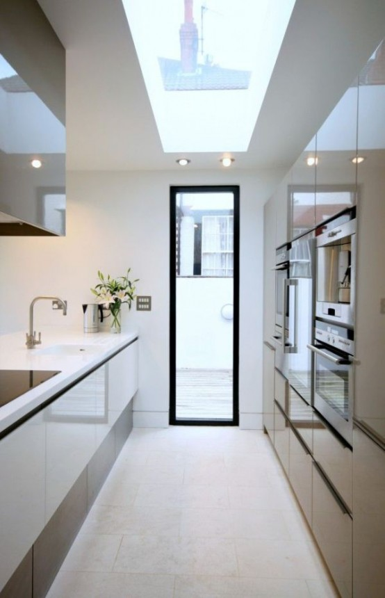 31 Stylish And Functional Super Narrow Kitchen Design Ideas DigsDigs