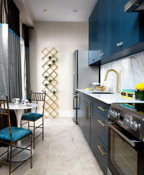 Stylish Blue And Gold Kitchen Design With Marble Digsdigs