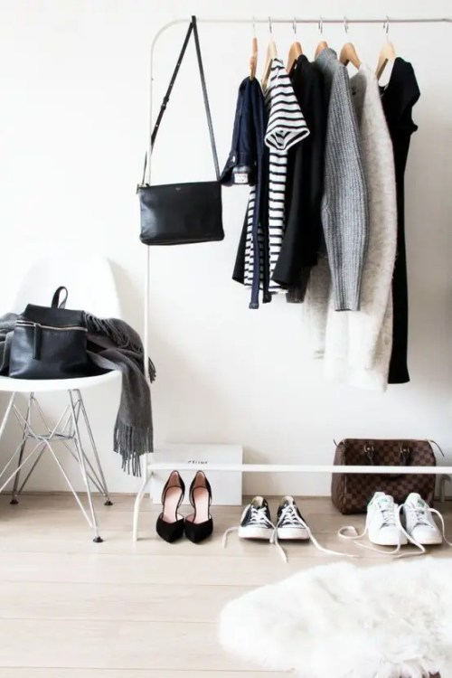 Minimalist Closets Fur Rug Hardwood Floors Black Purse White Tennis Shoes Dresses