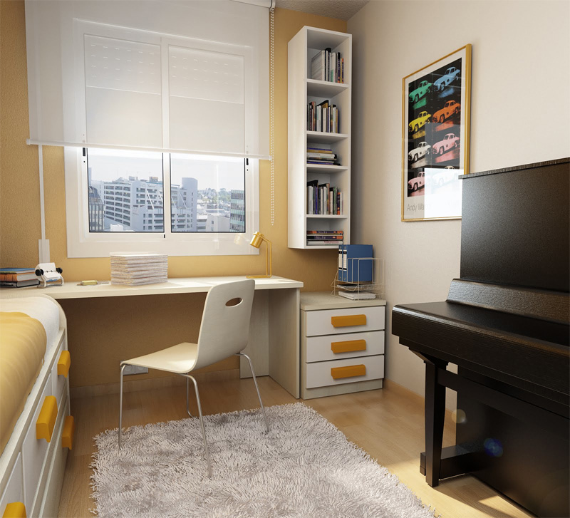 50 Thoughtful Teenage Bedroom Layouts | DigsDigs on Small Bedroom Ideas For Teenager  id=65140
