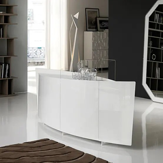 Extra Clear White Curved Sideboard Made Of Glass Shark