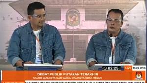 Bobby dan Aulia saat debat ketiga Pilkada Medan