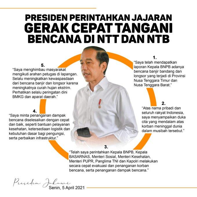 Ucapkan Dukacita, Presiden Perintahkan Penanganan Bencana di NTT Secara Cepat dan Baik