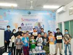 Global Ehsan Relief Indonesia Gandeng HMJ Kesos FISIP UMSU Wakaf Quran di Kampung Badur