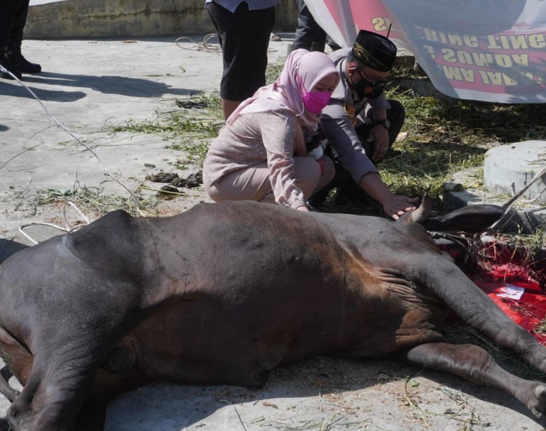 Sembelih 27 Ekor, Kapolres Tebingtinggi Minta Daging Kurbannya Diantar ke Rumah Warga