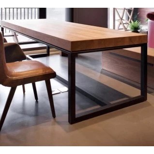 solid wood and metal table for dining room or horeca diiiz