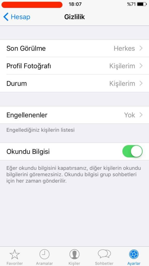 Whatsapp gizlilik ayarları, Whatsapp son görülme durumu, whatsapp okundu bilgisi