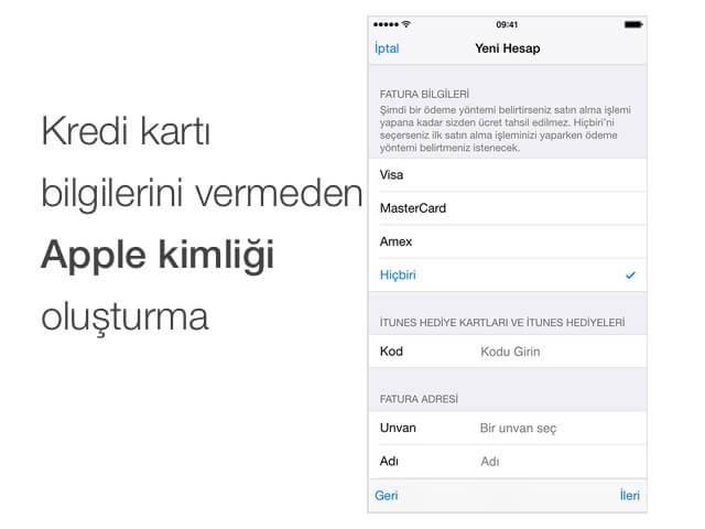 Apple kimliği oluşturma