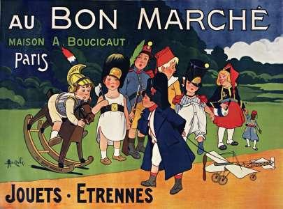 Affiche de Marcellin Auzolle pour le grand magasin parisien Au Bon Marché (1911). Cette publicité de Noël pour les enfants montre le génie d'Aristide Boucicaut, précusrseur de la grande distribution à la fin du XIXe siècle et inventeur des nouvelles méthodes d'un marketing commercial basé sur la communication.