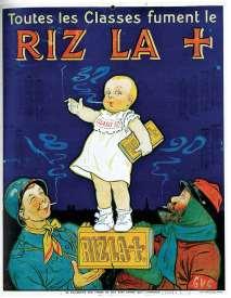 Même la guerre peut faire vendre, à l'image de ce calendrier de 1914 pour le papier à rouler les cigarettes Riz Lacroix, où un bébé fume sous l'oeil bienveillant et rigolard de deux soldats !