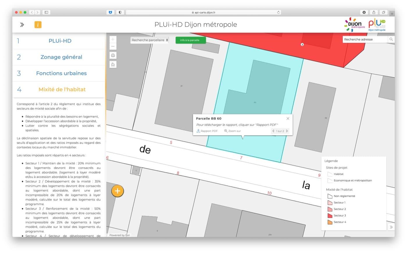 Capture d'écran du site cartographique du PLUi-HD de Dijon métropole